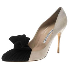 Manolo Blahnik Beige and Black Suede Arleti Frill Detail Pumps Size 41