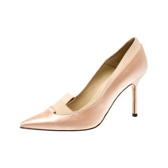 Manolo Blahnik Beige Fokionas Satin Pointed Toe Pumps Size 35