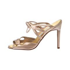Manolo Blahnik Beige Laser Cut Satin Open Toe Ankle Wrap Sandals Size 36.5