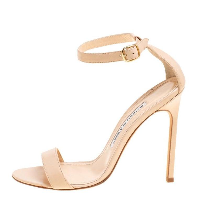 7579d8e5b0b Manolo Blahnik Beige Leather Chaos Ankle Strap Open Toe Sandals Size 36 For  Sale