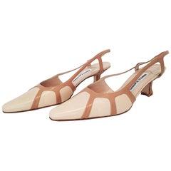 Manolo Blahnik Beige Leather Heels. NEW. Size 40
