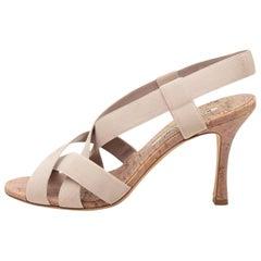 Manolo Blahnik Beige Strappy Sandals