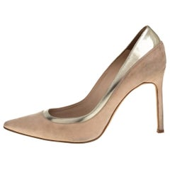 Manolo Blahnik Beige Suede and Leather Pointed Toe Pumps Size 36