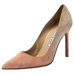 Manolo Blahnik Beige Suede BB Pointed Toe Pointed Toe Pumps Size 36