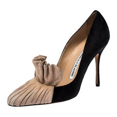 Manolo Blahnik Black and Beige Suede Arleti Frill Detail Pumps Size 36