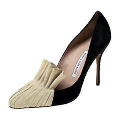 Manolo Blahnik Black And Beige Suede Arleti Frill Detail Pumps Size 39.5