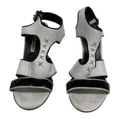 Manolo Blahnik black and white sandal
