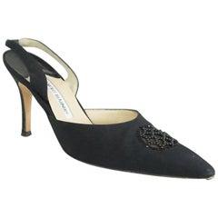 Manolo Blahnik Black Beaded Carolyne Heel - 39.5