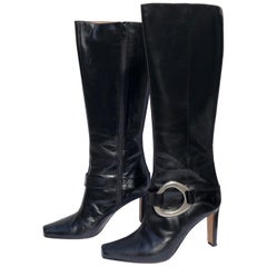Manolo Blahnik Black Knee Boots w/ Silver Metal Ankle Harness & Interior Zippers