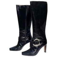 Manolo Blahnik Black Knee Boots w/ Silver Metal Ankle Harness & Interior Zippers