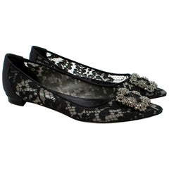 Manolo Blahnik Black Lace Pointed Hangisi Ballerinas 41