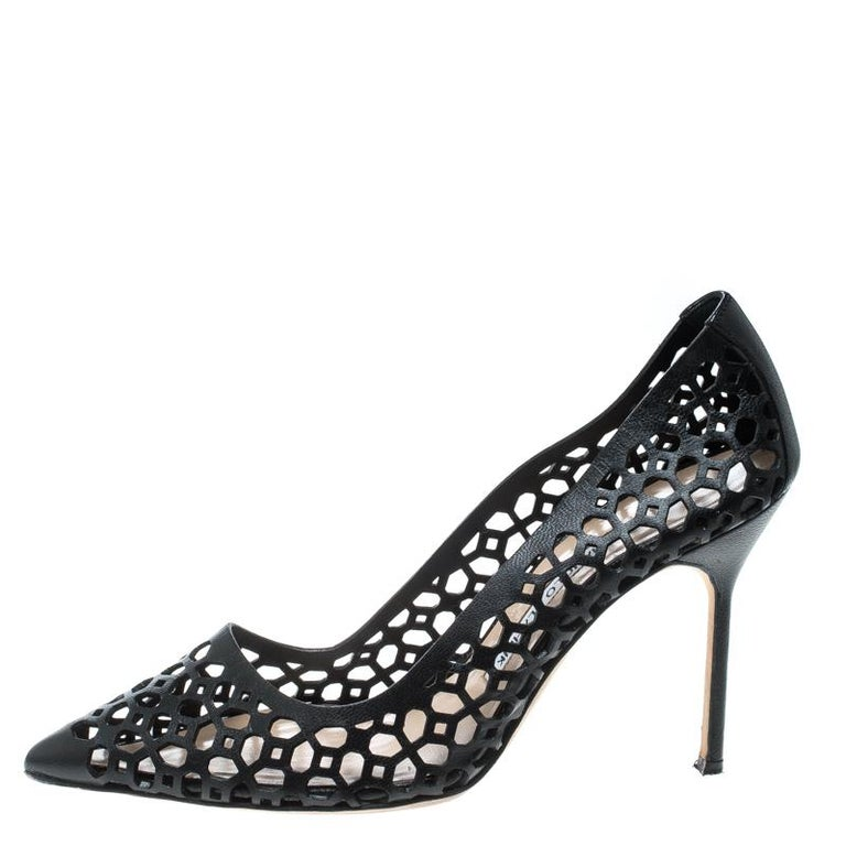 833ef48cdf Manolo Blahnik Black Laser Cut Leather Pointed Toe Pumps Size 37 For Sale