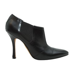 Manolo Blahnik Black Leather Ankle Boots