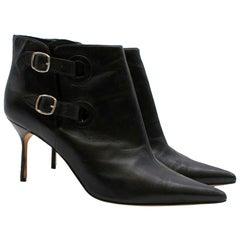 Manolo Blahnik Black Leather Double Buckle Ankle Boots 40