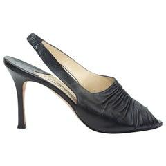 Manolo Blahnik Black Leather Peep-Toe Slingbacks