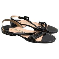 Manolo Blahnik Black Leather Slingback Flat Sandals 37