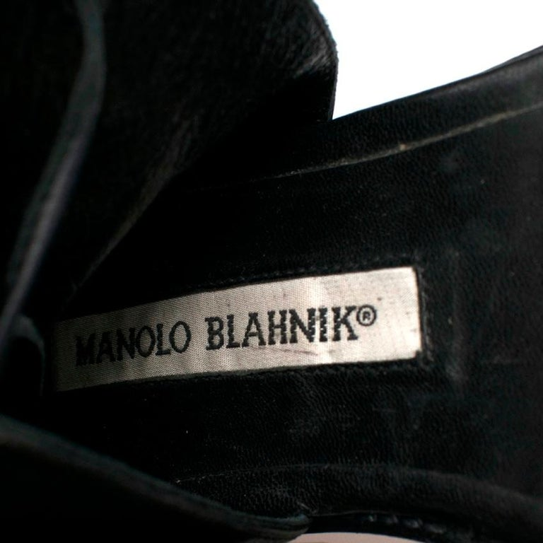 Manolo Blahnik Black Leather Vestalapla Laceup Sandals 40 For Sale 1