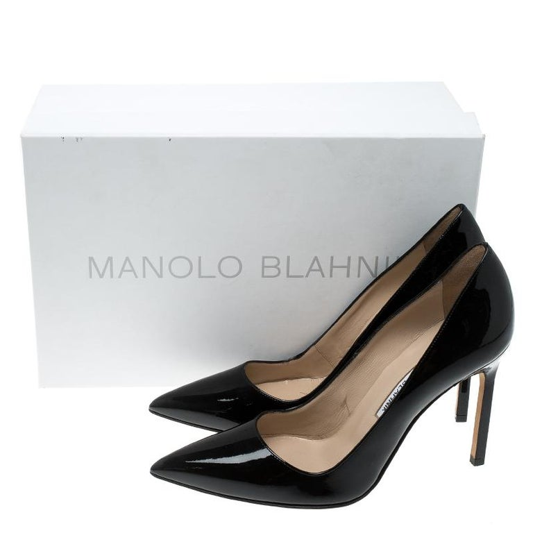 Manolo Blahnik Black Patent Leather BB Pointed Toe Pumps Size 36 4