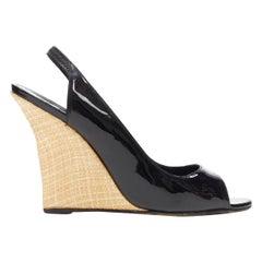 MANOLO BLAHNIK black patent peep toe sling back rafia wedge heel EU37