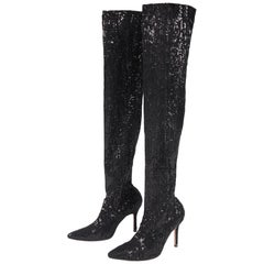 Manolo Blahnik Black Sequin Stretch Thigh High High-Heeled Boots NBW
