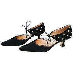 Manolo Blahnik Black Silk Heels With White Dots. New. Size 40