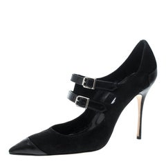 Manolo Blahnik Black Suede and Leather Cap Toe Pumps Size 40
