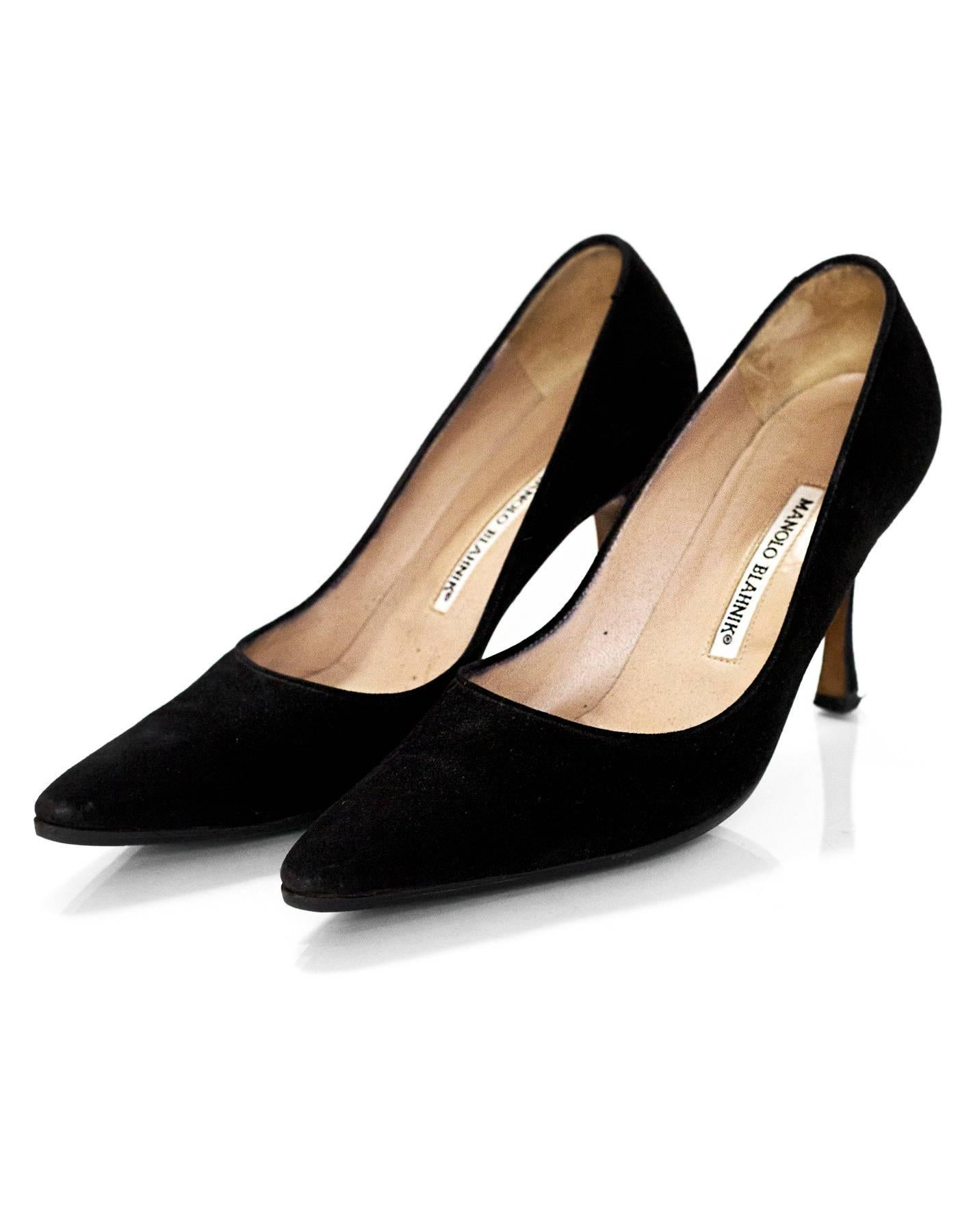 0348cb985d7 ... uk manolo blahnik black suede point toe pumps sz 37.5 for sale 2 8c7d1  1efc5