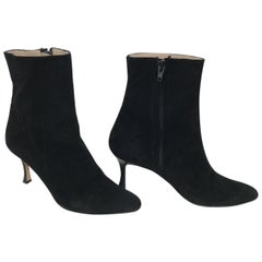Manolo Blahnik Black Suede Side Zip High Heel Booties 37