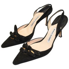 Manolo Blahnik Black Suede Sling Backs