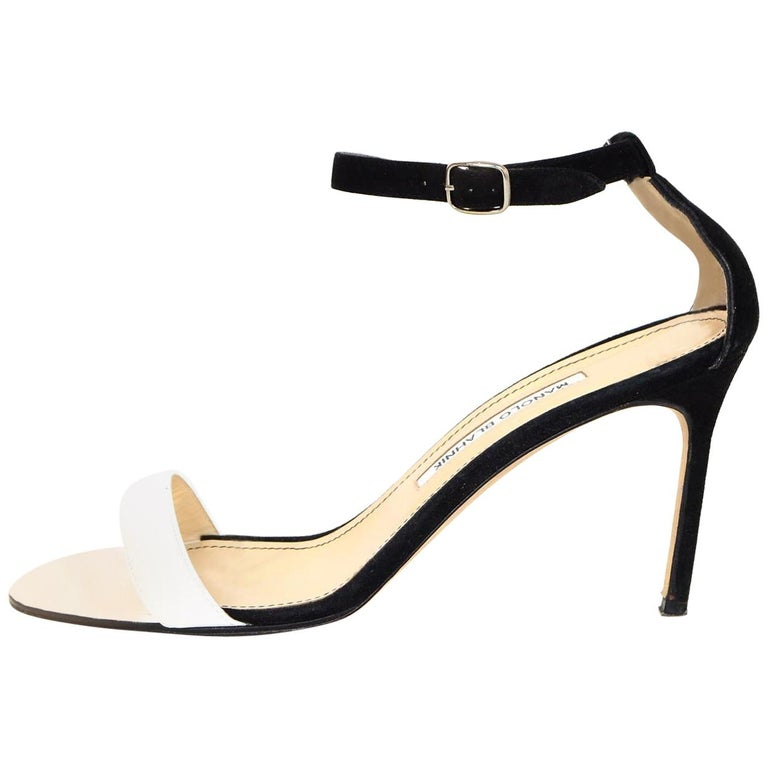 f1358c334c7b Manolo Blahnik Black Suede White Patent Leather Sandals Sz 39.5 For Sale