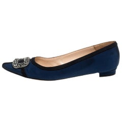 Manolo Blahnik Blue Fabric Hangisi Crystal Embellished Ballet Flats Size 39.5