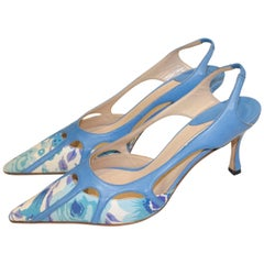 Manolo Blahnik Blue Leather and Fabric Sling Back Shoes