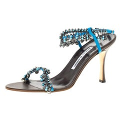 Manolo Blahnik Blue Leather Crystal And Trinket Open Toe Sandals Size 39.5