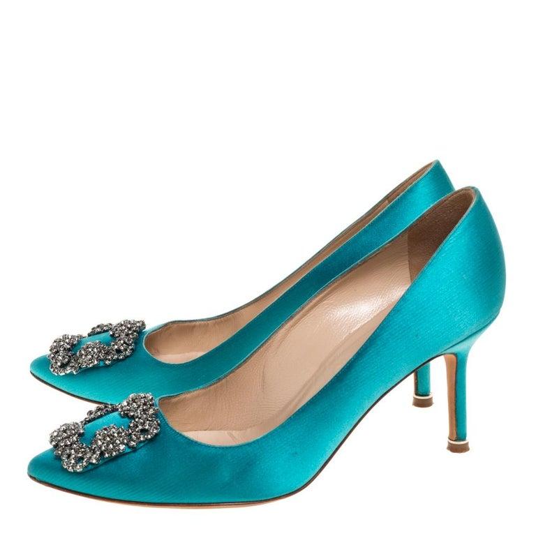 Manolo Blahnik Blue Satin Hangisi Crystal Embellished Pointed Toe Pumps Size 38 For Sale 1