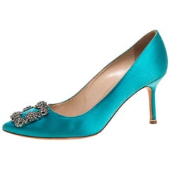 Manolo Blahnik Blue Satin Hangisi Crystal Embellished Pointed Toe Pumps Size 38