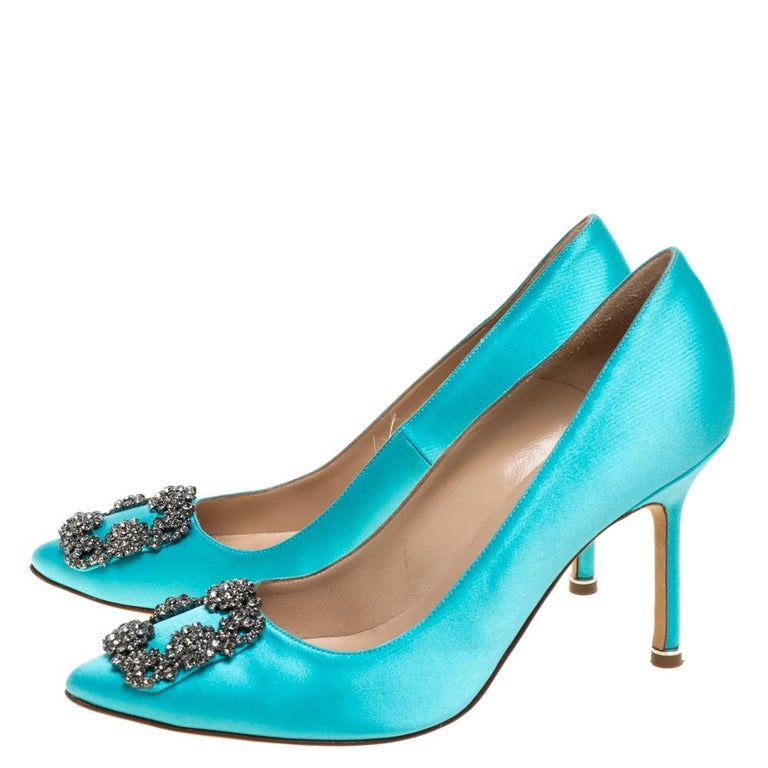 Manolo Blahnik Blue Satin Hangisi Crystal Embellished Pumps Size 38 For Sale 1