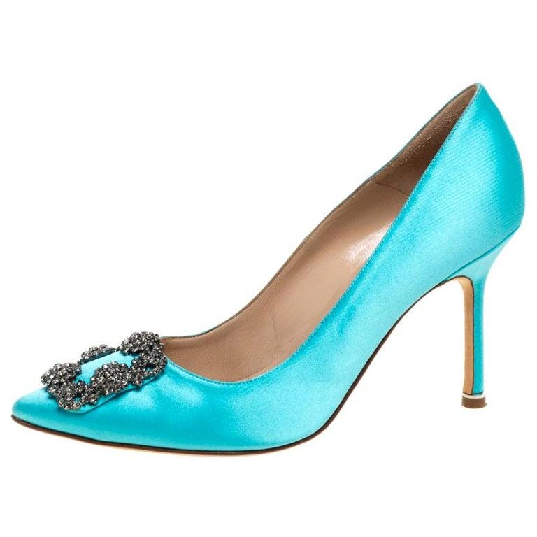Manolo Blahnik Blue Satin Hangisi Crystal Embellished Pumps Size 38 For Sale