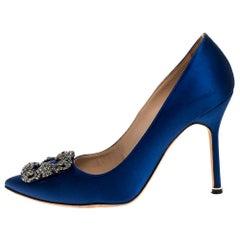 Manolo Blahnik Blue Satin Hangisi Crystal Embellished Pumps Size 38.5