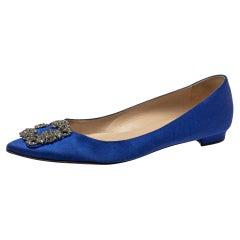 Manolo Blahnik Blue Satin Hangisi Flats Size 39.5