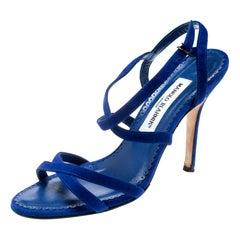 Manolo Blahnik Blue Suede Bayan Strappy Sandals Size 37