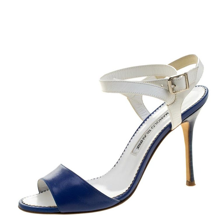 5a97f352ed Manolo Blahnik Blue/White Leather Llonicabi Ankle Strap Sandals Size 35.5  For Sale