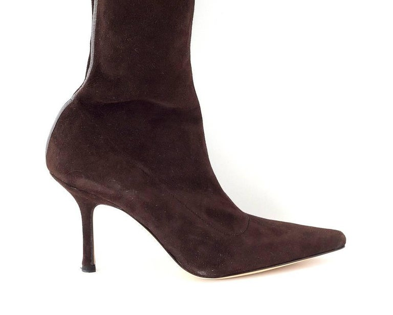 Black Manolo Blahnik Boot Stretch Suede Rear Leather Detail 39.5 / 9.5 New For Sale