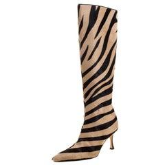 Manolo Blahnik Brown/Beige Calf Hair Leopard Print Knee Length Boots Size 36