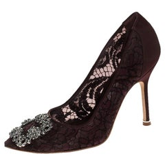 Manolo Blahnik Burgudy Lace And Fabric Embellished Pointed Toe Pumps Size 35.5