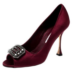 Manolo Blahnik Burgundy Satin Matik Crystal Embellished Peep Toe Pumps Size 38.5