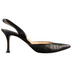 MANOLO BLAHNIK Carolyne Size 10 Black Alligator Leather Slingback Pumps