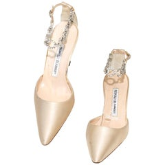 Manolo Blahnik Champagne Pointed Toe Heel With Rhinestone Ankle Strap
