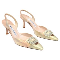 Manolo Blahnik Copper & Gold Pointed Toe Slingback Shoes W Jeweled Buckles