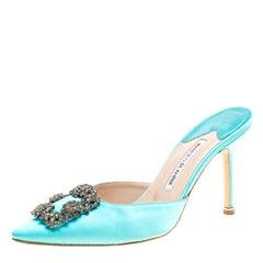 Manolo Blahnik Cyan Blue Satin Hangisi Pointed Toe Mules Size 38