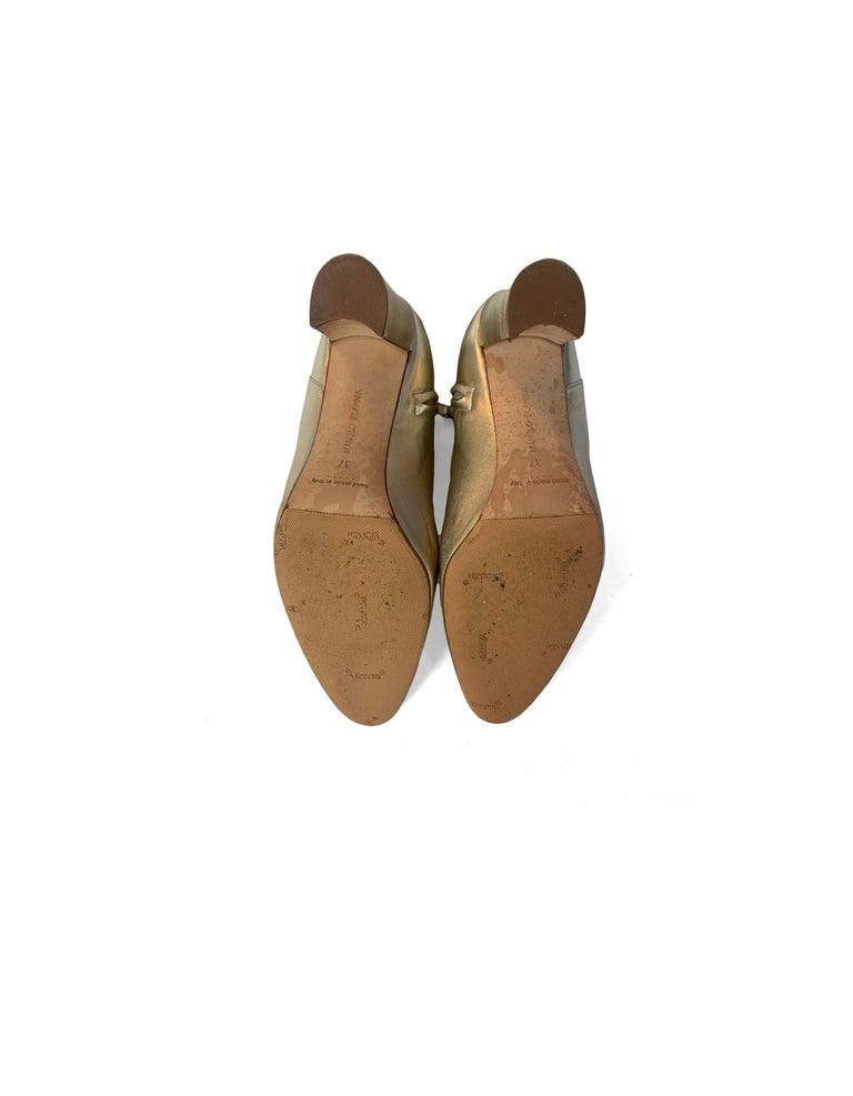 Manolo Blahnik Gold Leather Brusta Stacked Heel Booties sz 37 rt. $995 For Sale 1